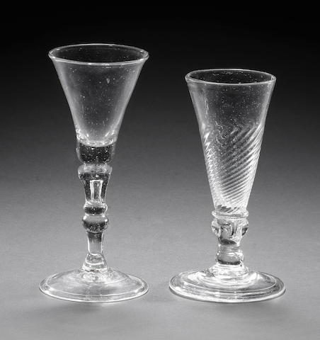 A dwarf ale glass and a baluster wine glass, circa 1730-50