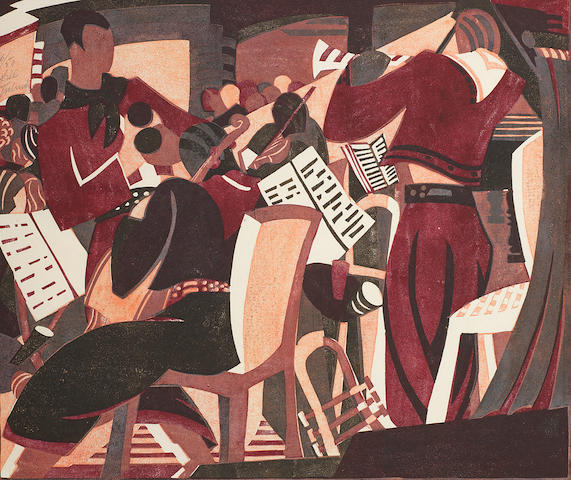 Lill Tschudi (Swiss, 1911-2001) Rumba Band I Linocut printed in dark crimson, black brown and pink, 1935, an early, richly inked impression, on thin cream oriental laid, signed and numbered 6/50 in pencil, additionally titled an inscribed 'Handdruck' in pencil in lower margin, with margins, 256 x 303mm (10 x 12in) (B) (unframed)