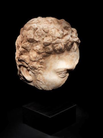 A Roman marble head fragment