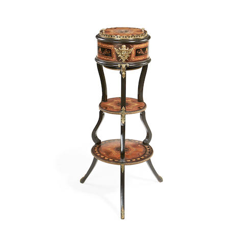 A Napoleon III tulipwood, ebony, stained sycamore and marquetry three-tier jardinière in the manner of Charles-Guillaume Diehl