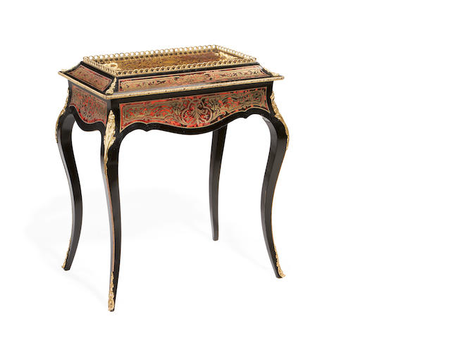A late 19th/early 20th century gilt metal mounted tortoiseshell and brass 'Boulle' marquetry ebonised jardinière