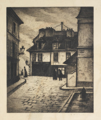 Christopher Richard Wynne Nevinson A.R.A. (British, 1889-1946) [Blanchisserie] Etching printed with tone, c.1922, a good impression, on F.J. Head & Co watermarked laid, signed in pencil, with margins, 232 x 190mm (9 1/4 x 7 1/2in)(PL) unframed