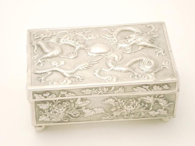 An export silver box Circa 1900, possibly Wing Fat