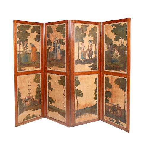 A late 19th Century mahogany four fold screen, in two sections