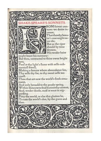 KELMSCOTT PRESS SHAKESPEARE (WILLIAM) The Poems, [LIMITED TO 500 COPIES], 1893
