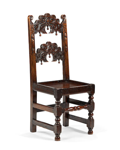 A Charles II and later oak backstool, Yorkshire/Derbyshire