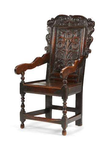 A Charles II oak panel-back open armchair, Yorkshire, circa 1680