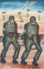 Tshibumba Kanda Matulu (Dem. Republic of the Congo, born 1947) Congo military scenes 60.5 x 43cm (23 13/16 x 16 15/16in); 61 x 38cm (24 x 14 15/16in). (2) unframed