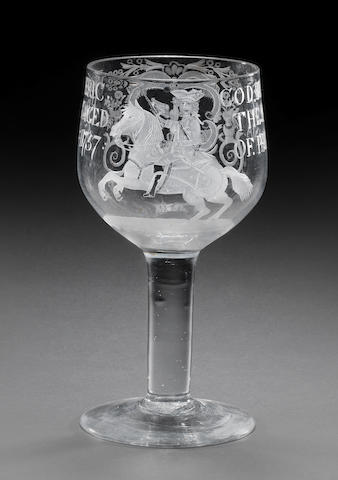 A goblet inscribed King of Prussia, 1757