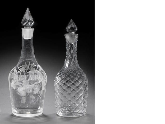 A 'Lynn' Jacobite Beer decanter and stopper and a facet-cut decanter and stopper, circa 1760