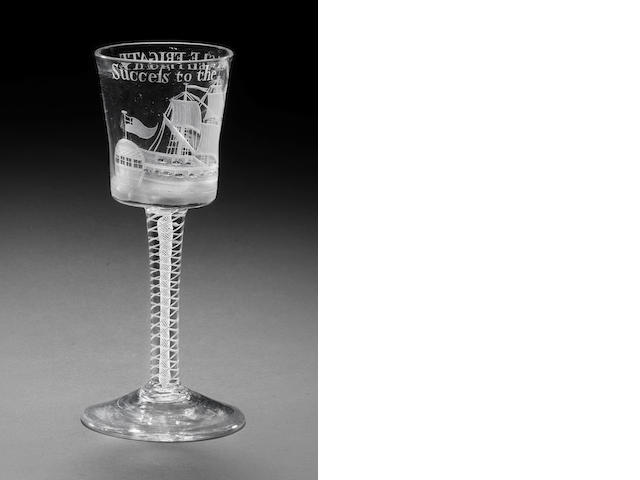 An engraved Privateer wine glass with Eagle frigate, circa 1760