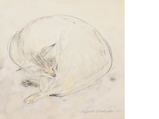 Dame Elizabeth Blackadder OBE RA RSA RSW RGI DLitt (British, born 1931) Sleeping Abyssinian Cat 25.5 x 25.5 cm. (10 1/16 x 10 1/16 in.)