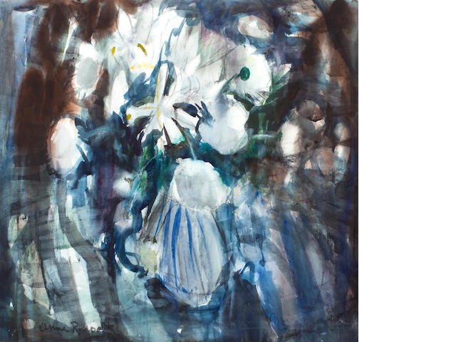 Anne Redpath, OBE RSA ARA LLD ARWS ROI RBA (British, 1895-1965) White blooms 55 x 56 cm. (21 5/8 x 22 1/16 in.)