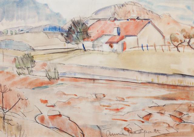 Anne Redpath, OBE RSA ARA LLD ARWS ROI RBA (British, 1895-1965) Farmland in the Borders 30 x 43 cm. (11 13/16 x 16 15/16 in.)