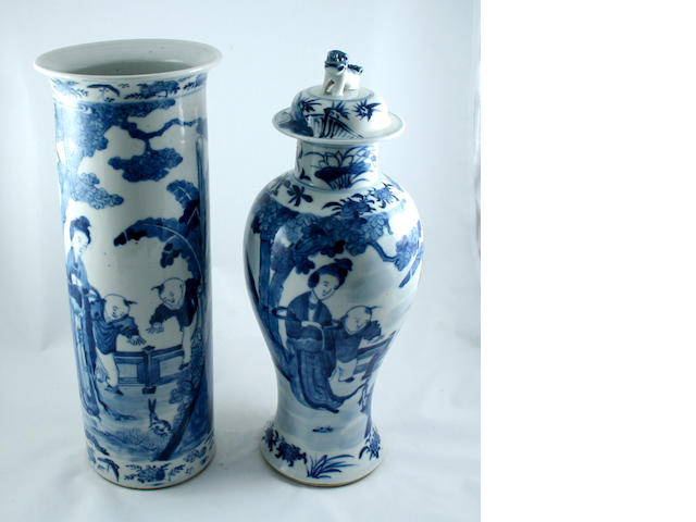 Two Chinese blue and white vases   Late 19th Century
