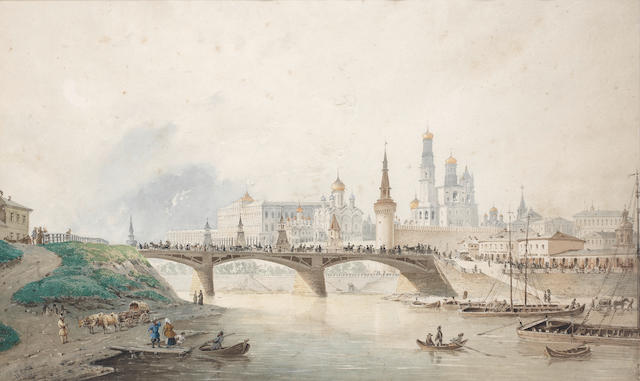Joseph Andreas Weiss (German, 1814-1887) View of the Moscow Kremlin from the river