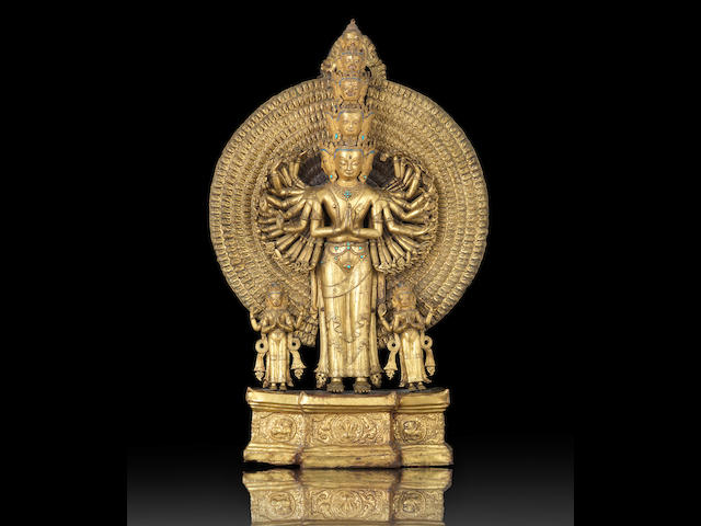 A very rare gilt-bronze figure of Avalokitesvara 18th century