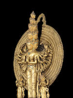 A very rare gilt bronze figure of Avalokitesvara