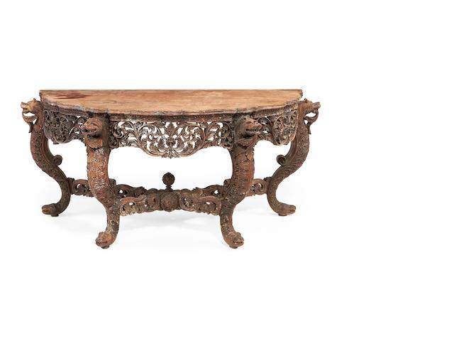 A Burmese 19th century carved hardwood side table