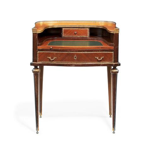A small Louis XVI style gilt metal mounted bonheur du jour