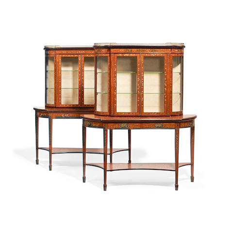 A pair of Edwardian satinwood and polychrome decorated display cabinets in the Sheraton revival style