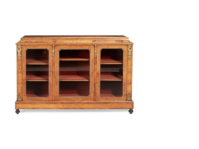 A Victorian walnut, burr elm and fruitwood inlaid display cabinet