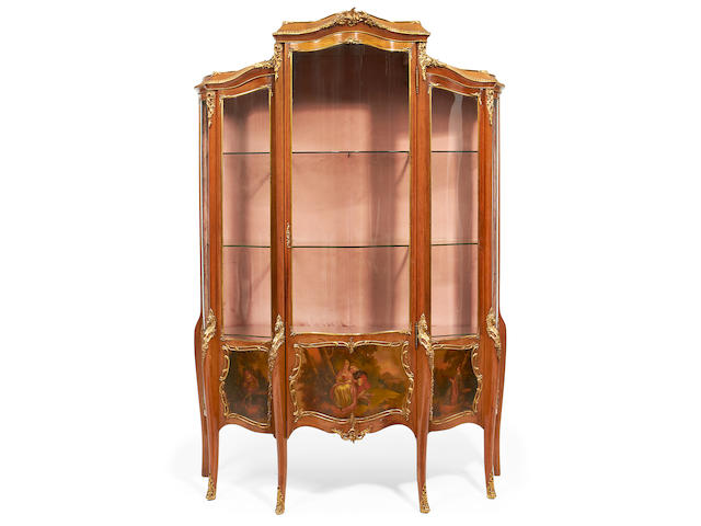 A large French late 19th century gilt metal mounted and Vernis Martin serpentine vitrine in the Louis XV style