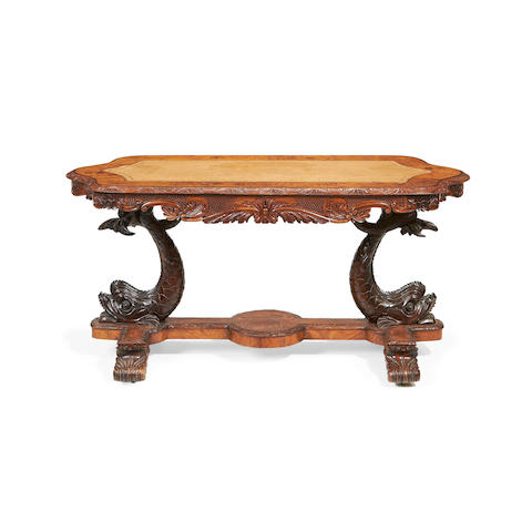 An early Victorian walnut, purplewood, sycamore and mother-of-pearl marquetry writing table