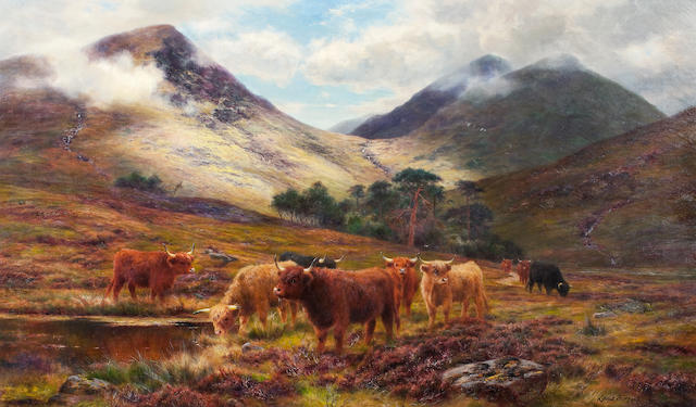 Louis Bosworth Hurt (British, 1856-1929) Cattle in a Highland Landscape 61 x 102.5 cm. (24 3/16 x 40 3/8 in.)