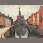 Alexander Jamieson ROI (British, 1873-1937) On the Canal, Bruges  70 x 92 cm. (27 9/16 x 36 1/4 in.)