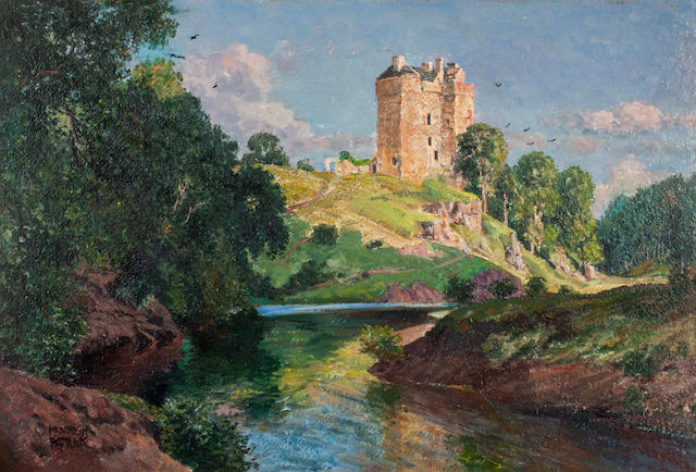 James McIntosh Patrick RSA ROI ARE LLD (British, 1907-1998) Neidpath Castle, Peebles 38 x 55 cm. (14 15/16 x 21 5/8 in.)