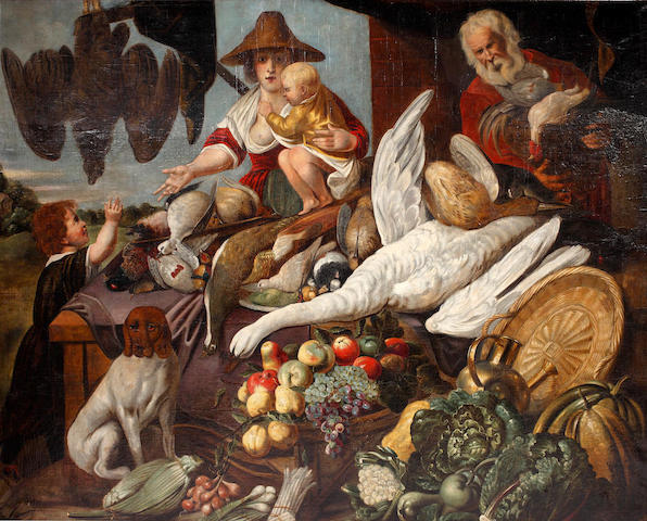 Circle of Jacob Jordaens (Antwerp 1593-1678) A market scene