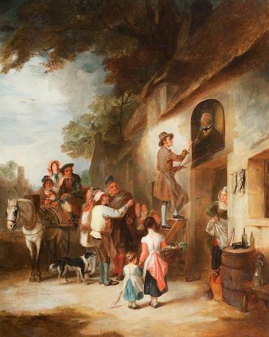 Alexander Fraser, Sr., ARSA (British, 1786-1865) The Village Signwriter  73 x 61cm. (28 3/4 x 24in.)