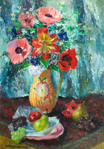 Mary Armour, RSA RSW (British, 1902-2000) Still Life with Amaryllis 75 x 49.5 cm. (29 1/2 x 19 1/2 in.)