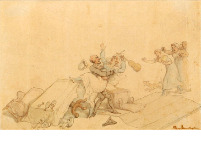 Attributed to Thomas Rowlandson (London 1756-1827) Attacking the Maid
