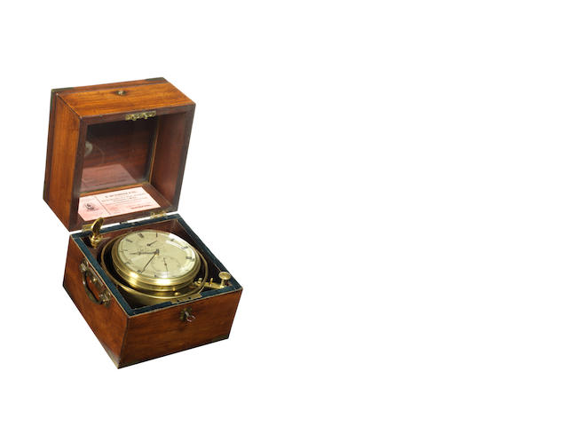 A mid 19th century eight day Marine Chronometer,  by Charles Wieland, London.
