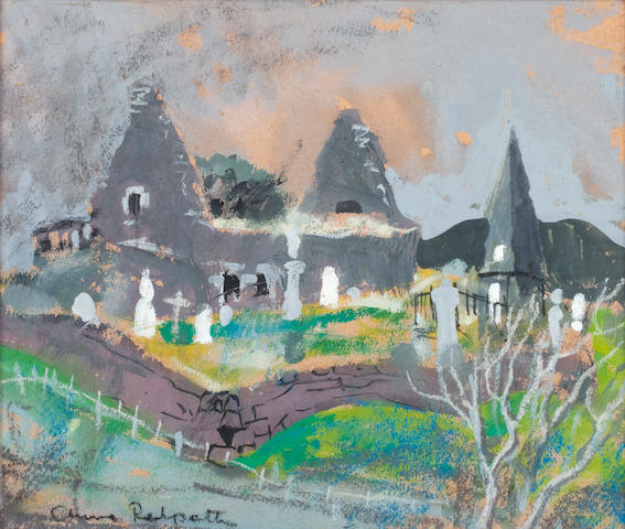 Anne Redpath, OBE RSA ARA LLD ARWS ROI RBA (British, 1895-1965) Church at Dunvegan 34 x 40 cm. (13 3/8 x 15 3/4 in.)