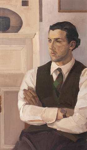 Alison Watt OBE (British, born 1965) Portrait of Stephen Conroy  101.5 x 56 cm. (40 x 22 in.)