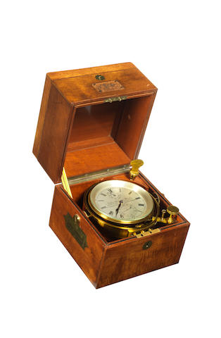 A two day Marine Chronometer, 7.5x7.5x8ins. (19x19x20cm)