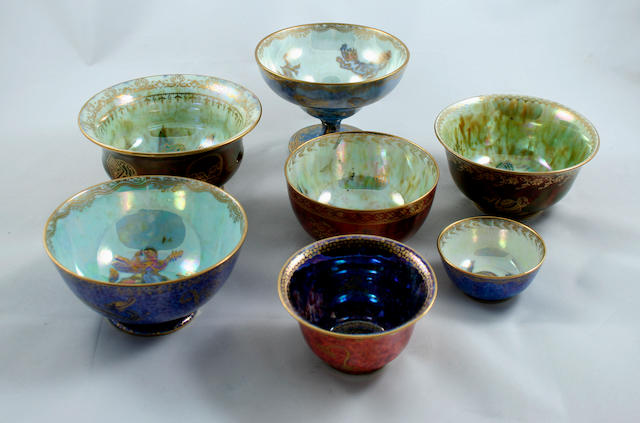 A collection of seven Wedgwood lustre bowls, designed by Daisy Makeig-Jones  Circa 1920