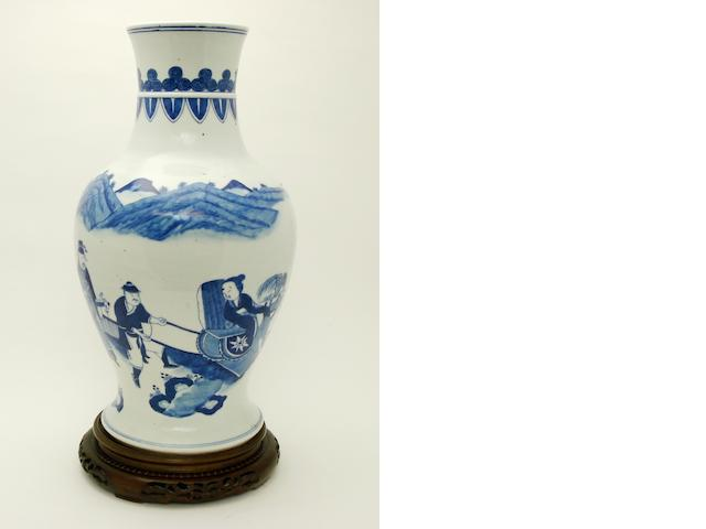 A large blue and white vase 19th century