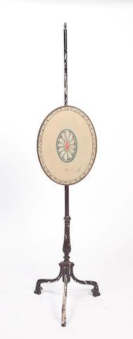 A late George III faux rosewood polescreen