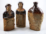 Two Bournes Pottery stoneware reform flasks circa 1830s