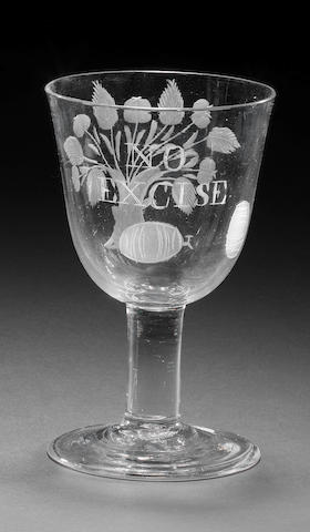 A cider goblet inscribed NO EXCISE, circa 1763-66