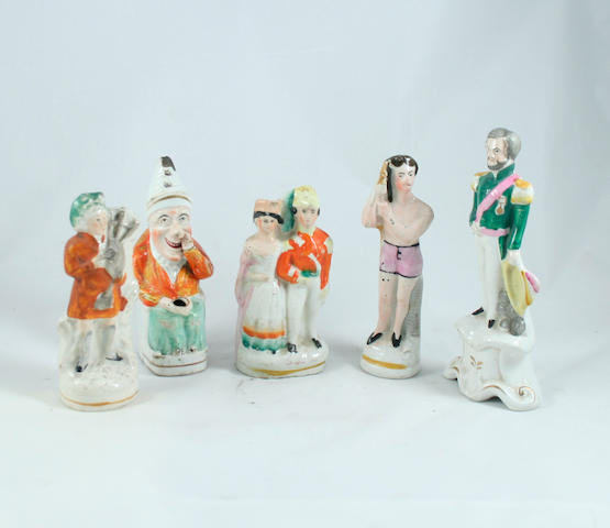 A collection of small Staffordshire figures 19th century