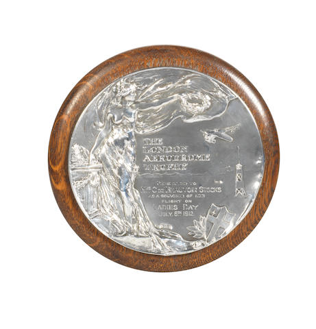 A silver presentation plaque 'The London Aerodrome Trophy'  by Elkington & Co, Birmingham 1912