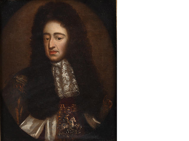 Follower of Sir Godfrey Kneller (Lübeck 1646-1723 London) Portrait of King William III, bust-length, in an embroidered coat,