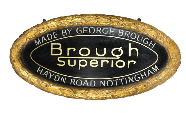 A 'Brough Superior' commemorative garage display plaque,