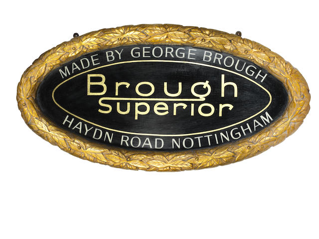 A 'Brough Superior' commemorative garage display plaque,