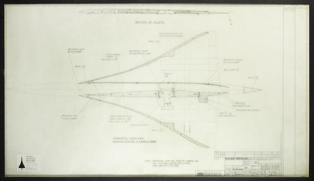 An original Concorde design drawing, late 1960s, 53 x 30 inches (135 x 76cm)